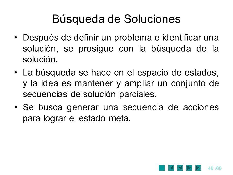 49/69 Búsqueda de Soluciones Después de definir un problema e identificar una solución, se prosigue con la búsqueda de la solución. La búsqueda se hac