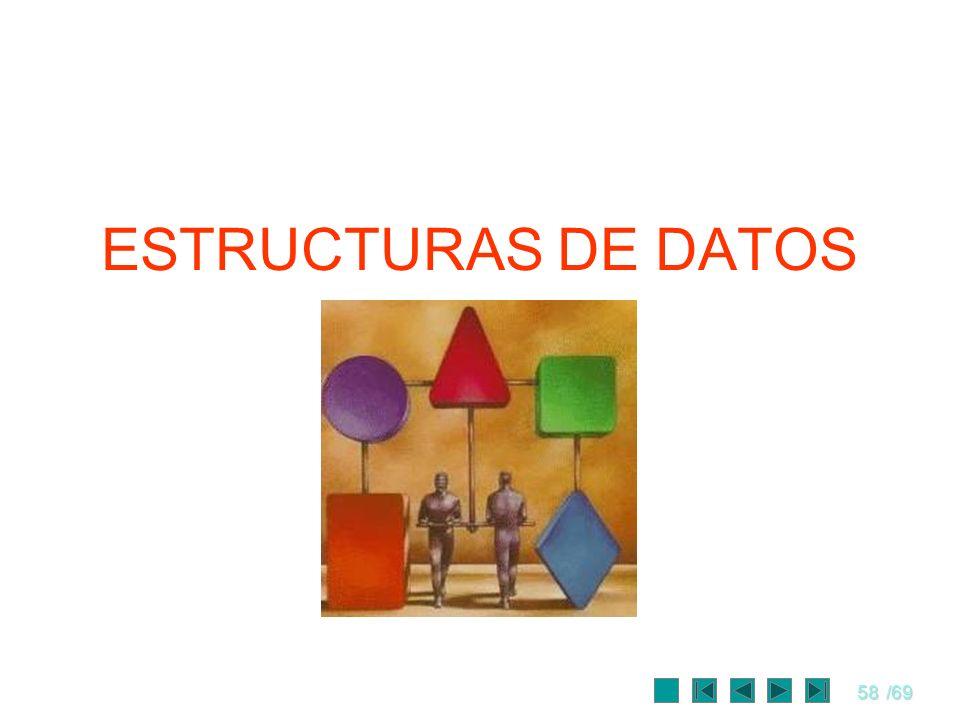 58/69 ESTRUCTURAS DE DATOS