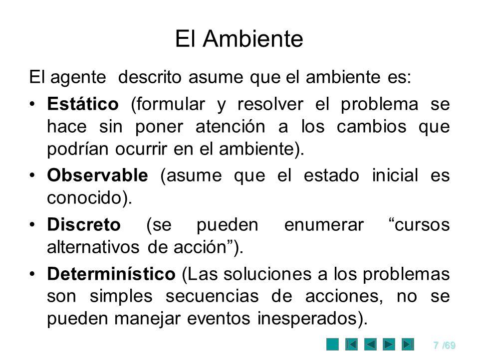 7/69 El Ambiente El agente descrito asume que el ambiente es: Estático (formular y resolver el problema se hace sin poner atención a los cambios que p