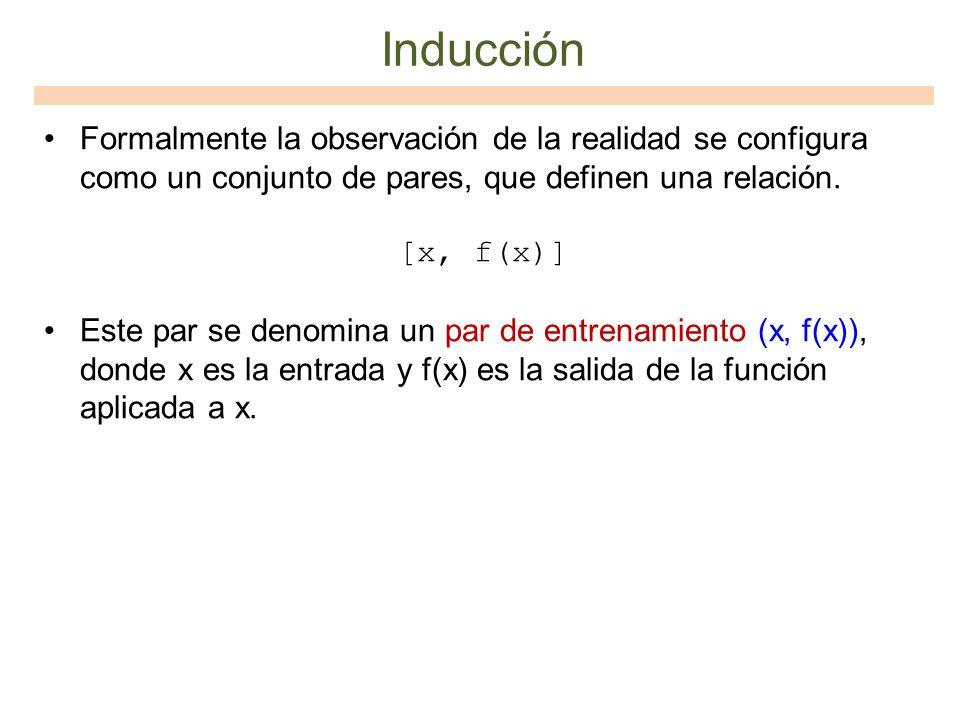 Inducción Formalmente la observación de la realidad se configura como un conjunto de pares, que definen una relación. [x, f(x)] Este par se denomina u