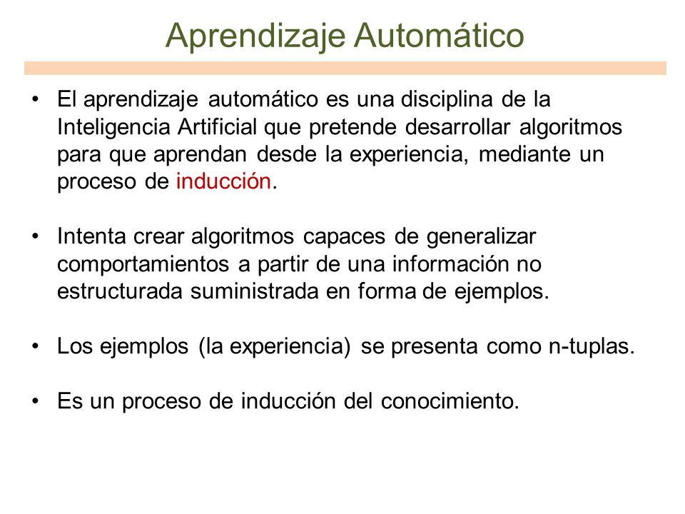 Aprendizaje Automático El aprendizaje automático es una disciplina de la Inteligencia Artificial que pretende desarrollar algoritmos para que aprendan