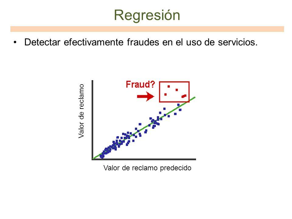 Regresión Detectar efectivamente fraudes en el uso de servicios. Valor de reclamo Valor de reclamo predecido
