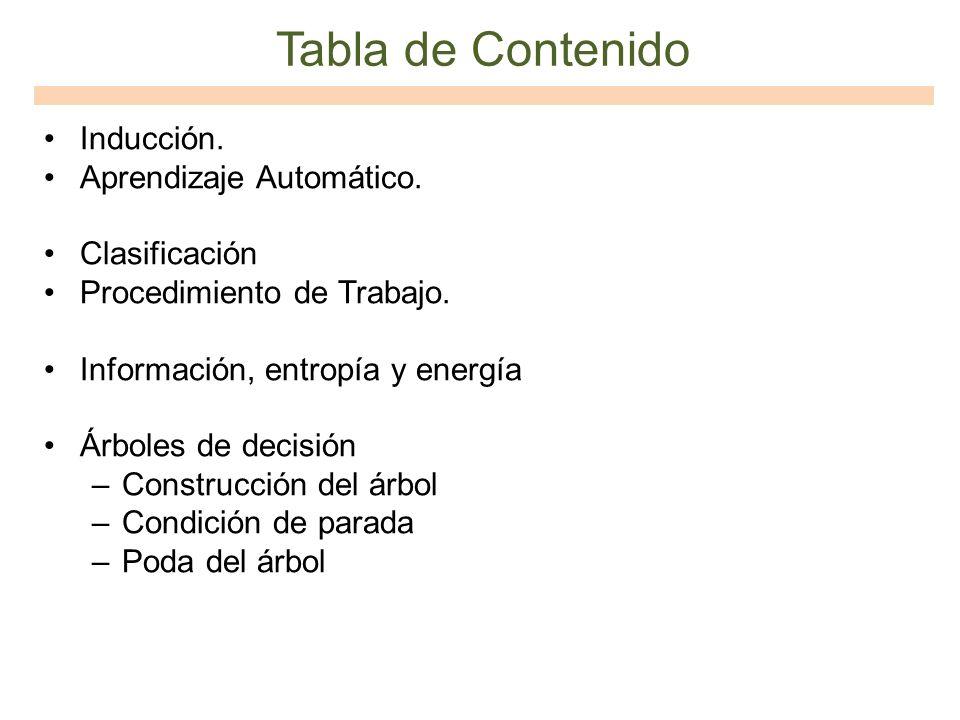 Tabla de Contenido Inducción. Aprendizaje Automático. Clasificación Procedimiento de Trabajo. Información, entropía y energía Árboles de decisión –Con