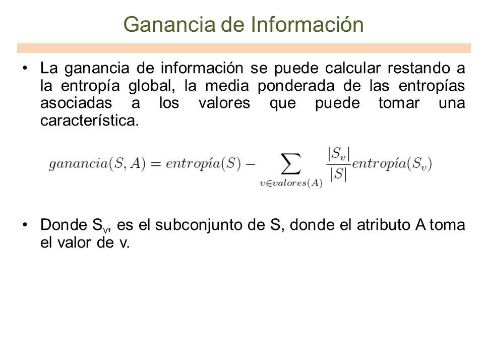 Ganancia de Información La ganancia de información se puede calcular restando a la entropía global, la media ponderada de las entropías asociadas a lo
