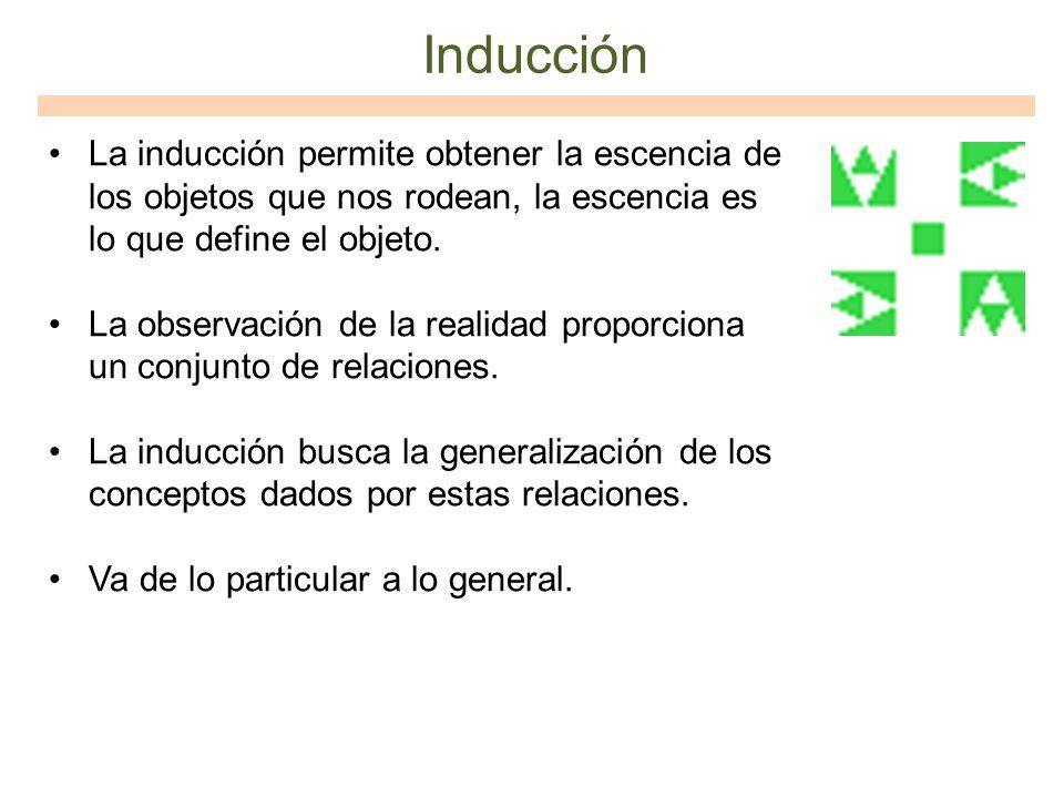 Inducción La inducción permite obtener la escencia de los objetos que nos rodean, la escencia es lo que define el objeto. La observación de la realida