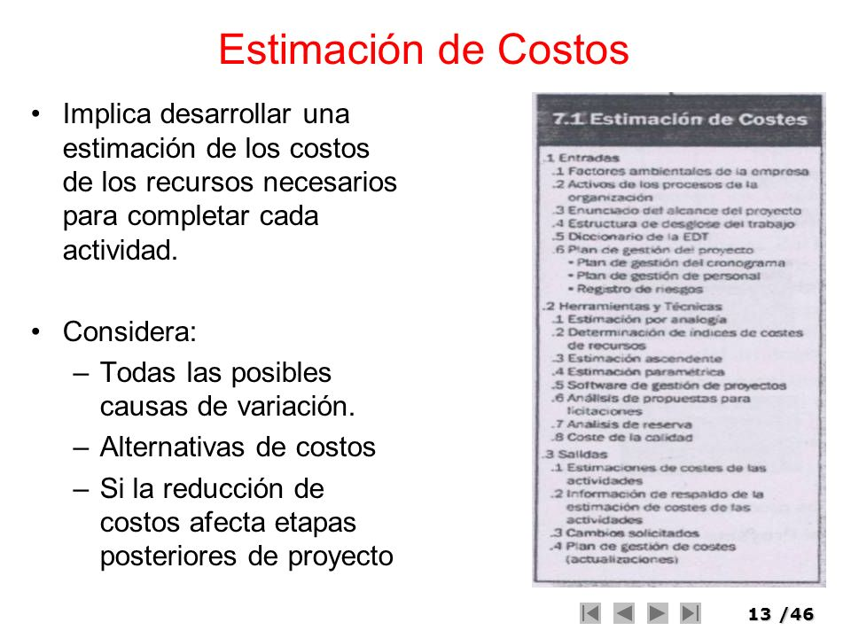 13/46 Estimación de Costos Implica desarrollar una estimación de los costos de los recursos necesarios para completar cada actividad. Considera: –Toda