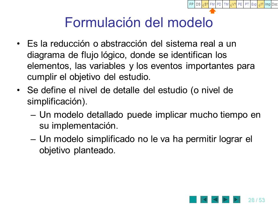 28 / 53 Formulación del modelo Es la reducción o abstracción del sistema real a un diagrama de flujo lógico, donde se identifican los elementos, las v