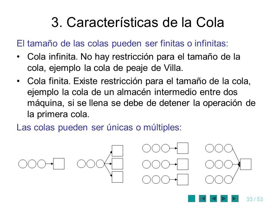33 / 53 3. Características de la Cola El tamaño de las colas pueden ser finitas o infinitas: Cola infinita. No hay restricción para el tamaño de la co