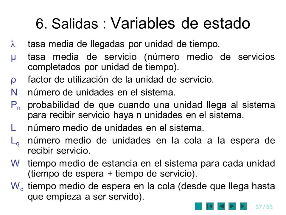 37 / 53 6. Salidas : Variables de estado λ tasa media de llegadas por unidad de tiempo. μtasa media de servicio (número medio de servicios completados