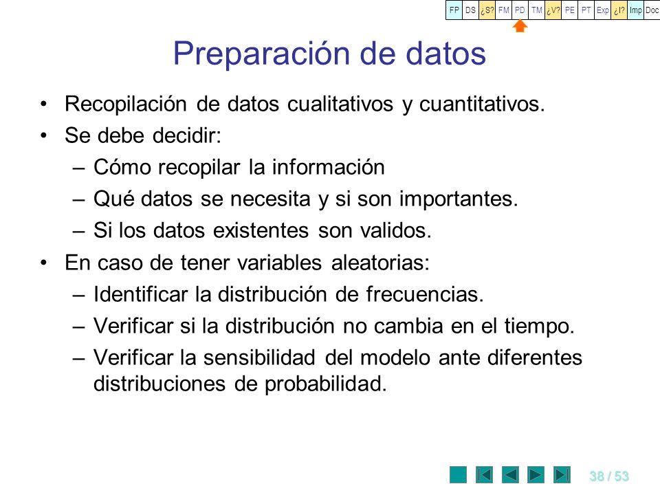 38 / 53 Preparación de datos Recopilación de datos cualitativos y cuantitativos. Se debe decidir: –Cómo recopilar la información –Qué datos se necesit
