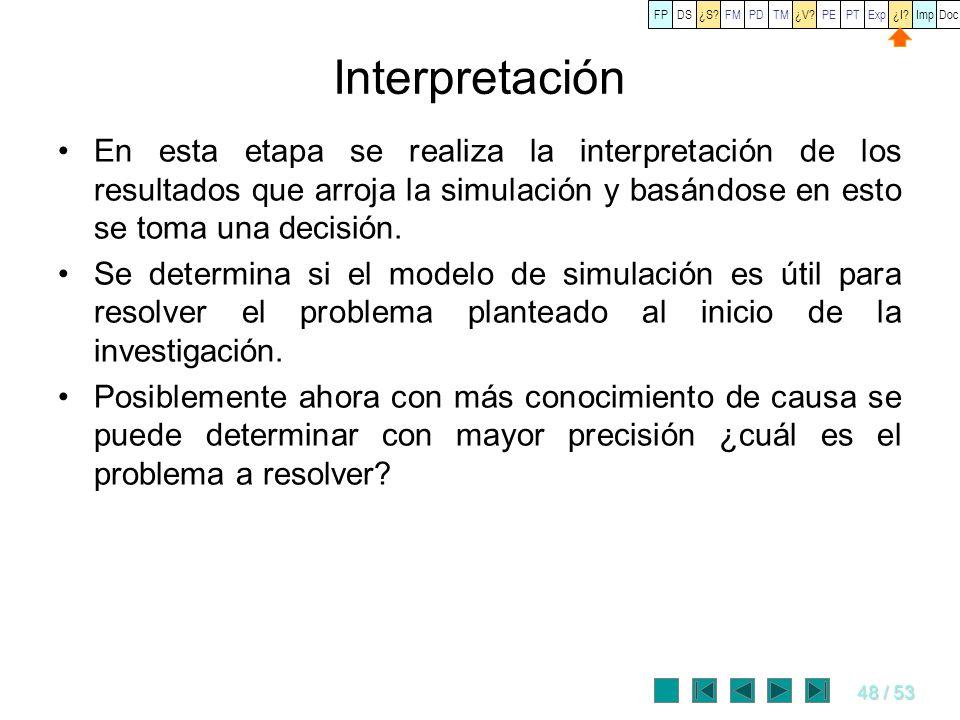 48 / 53 Interpretación En esta etapa se realiza la interpretación de los resultados que arroja la simulación y basándose en esto se toma una decisión.