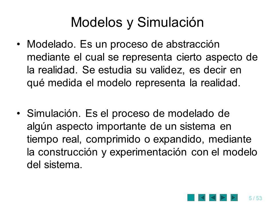 5 / 53 Modelos y Simulación Modelado. Es un proceso de abstracción mediante el cual se representa cierto aspecto de la realidad. Se estudia su validez
