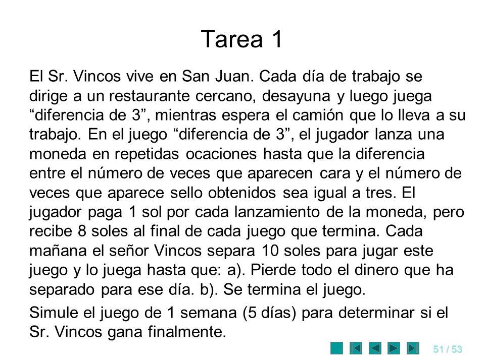 51 / 53 Tarea 1 El Sr. Vincos vive en San Juan. Cada día de trabajo se dirige a un restaurante cercano, desayuna y luego juega diferencia de 3, mientr