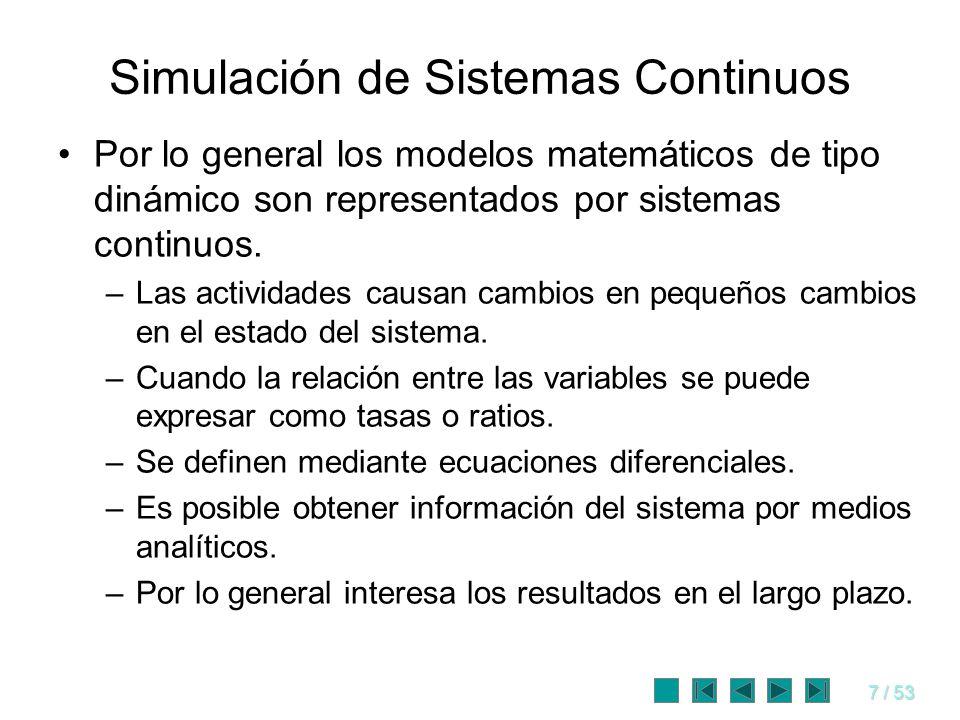 7 / 53 Simulación de Sistemas Continuos Por lo general los modelos matemáticos de tipo dinámico son representados por sistemas continuos. –Las activid