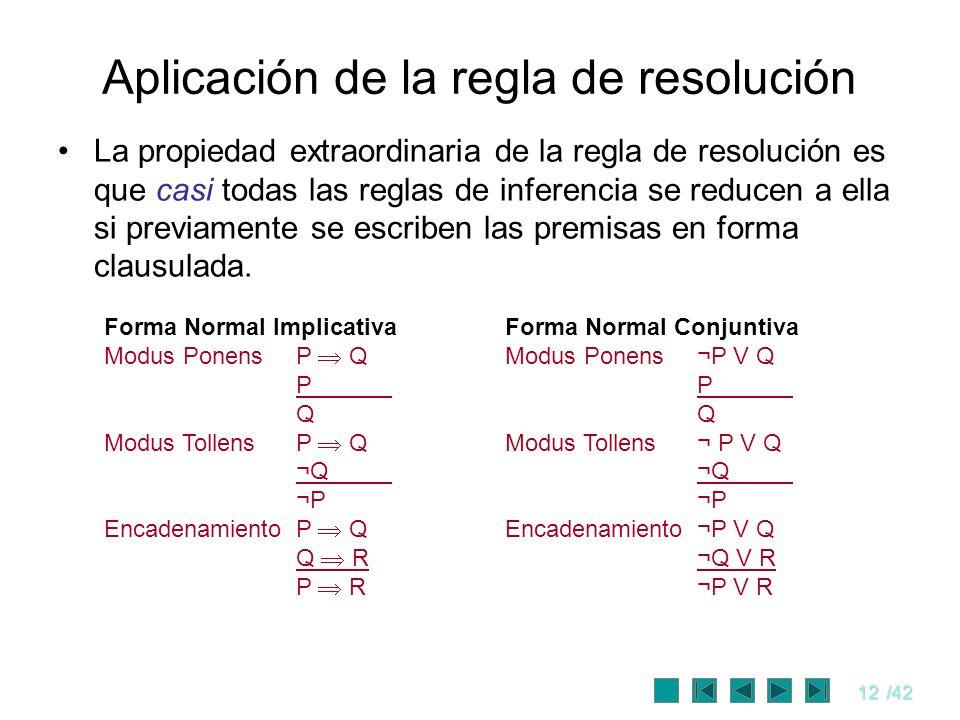 12/42 Aplicación de la regla de resolución La propiedad extraordinaria de la regla de resolución es que casi todas las reglas de inferencia se reducen