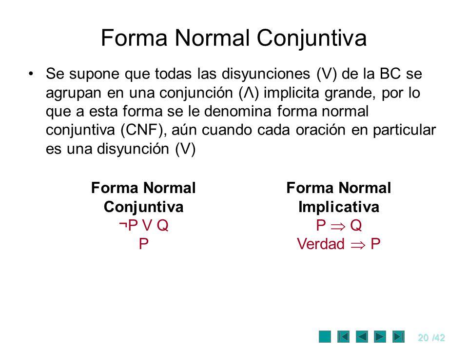 20/42 Forma Normal Conjuntiva Se supone que todas las disyunciones (V) de la BC se agrupan en una conjunción (Λ) implicita grande, por lo que a esta f