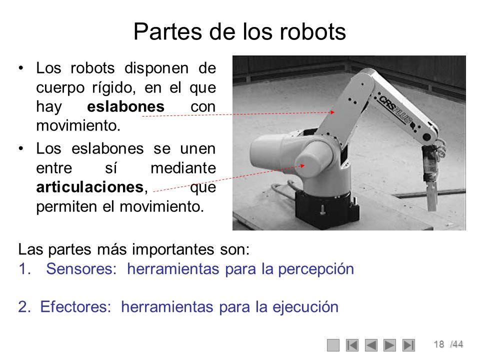 18/44 Partes de los robots Los robots disponen de cuerpo rígido, en el que hay eslabones con movimiento. Los eslabones se unen entre sí mediante artic