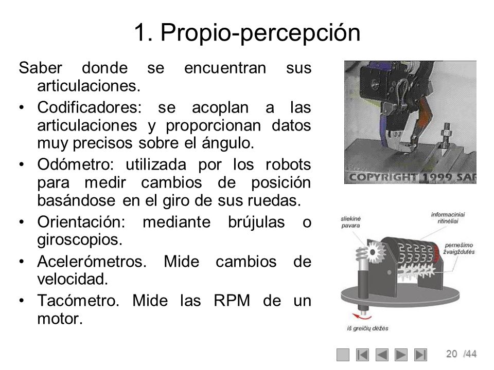 20/44 1. Propio-percepción Saber donde se encuentran sus articulaciones. Codificadores: se acoplan a las articulaciones y proporcionan datos muy preci