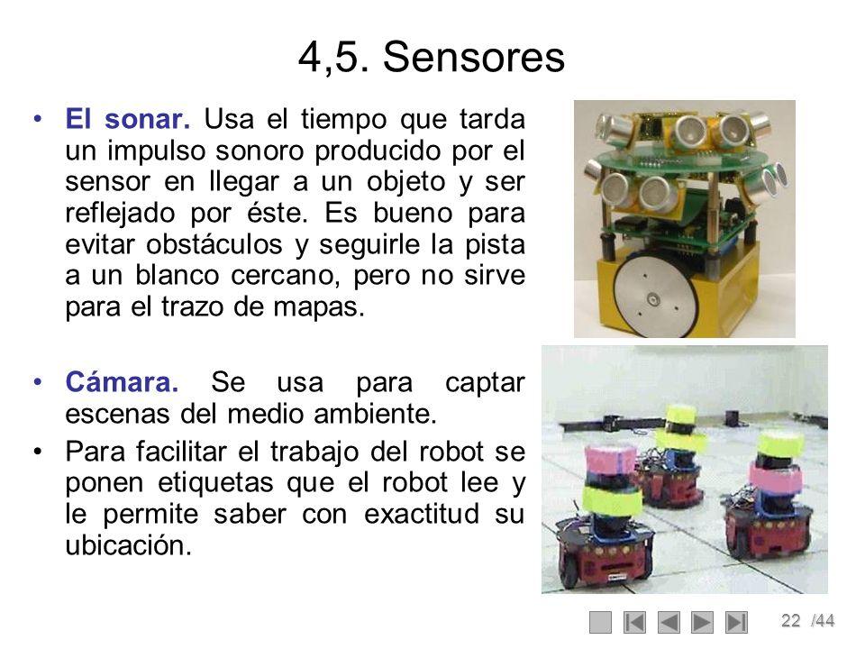 22/44 4,5. Sensores El sonar. Usa el tiempo que tarda un impulso sonoro producido por el sensor en llegar a un objeto y ser reflejado por éste. Es bue