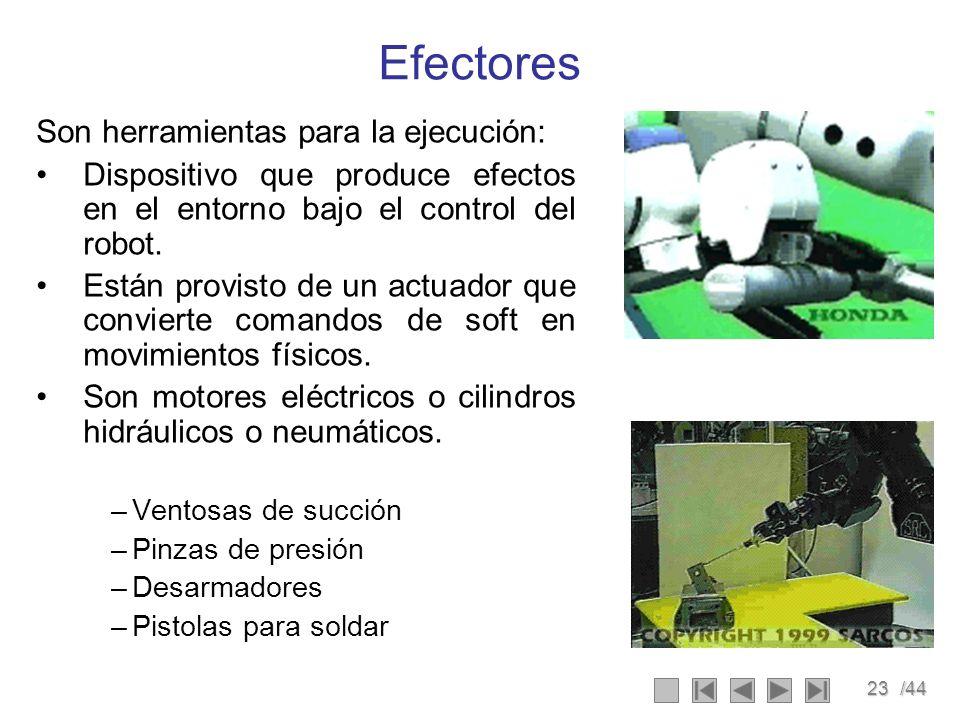 23/44 Efectores Son herramientas para la ejecución: Dispositivo que produce efectos en el entorno bajo el control del robot. Están provisto de un actu