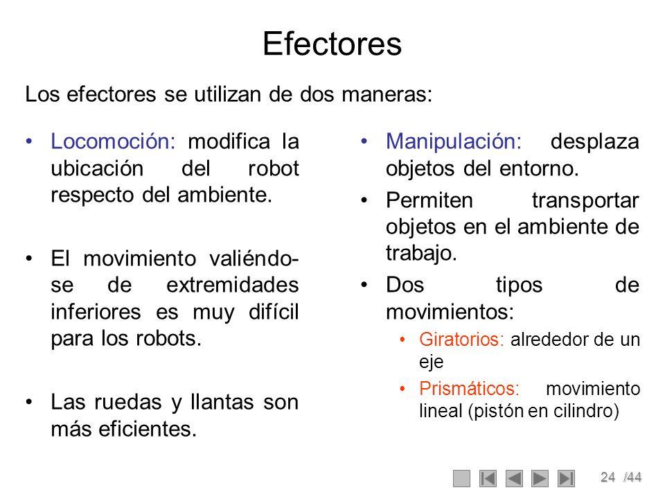 24/44 Efectores Los efectores se utilizan de dos maneras: Manipulación: desplaza objetos del entorno. Permiten transportar objetos en el ambiente de t