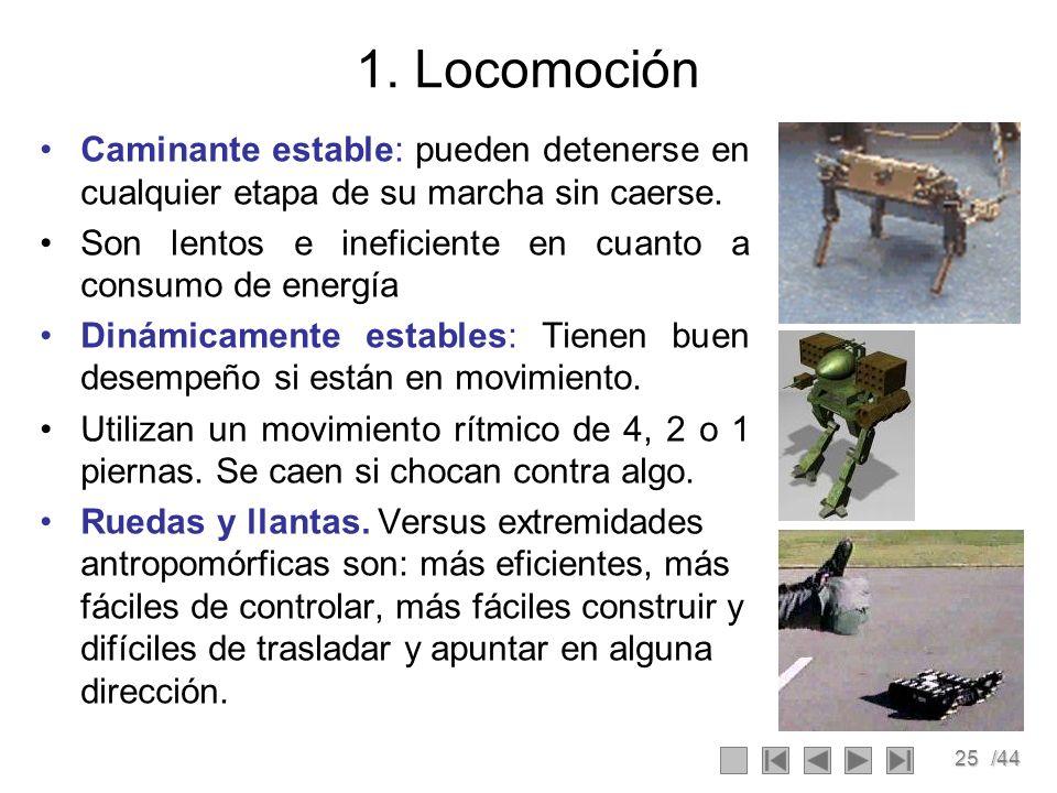 25/44 1. Locomoción Caminante estable: pueden detenerse en cualquier etapa de su marcha sin caerse. Son lentos e ineficiente en cuanto a consumo de en
