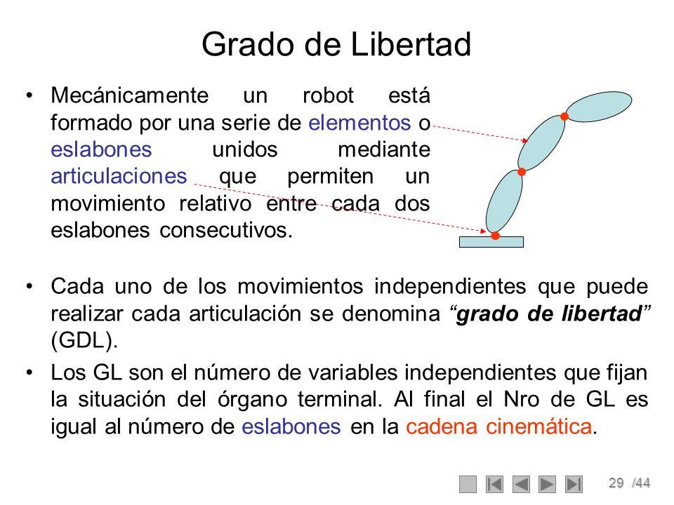 29/44 Grado de Libertad Mecánicamente un robot está formado por una serie de elementos o eslabones unidos mediante articulaciones que permiten un movi