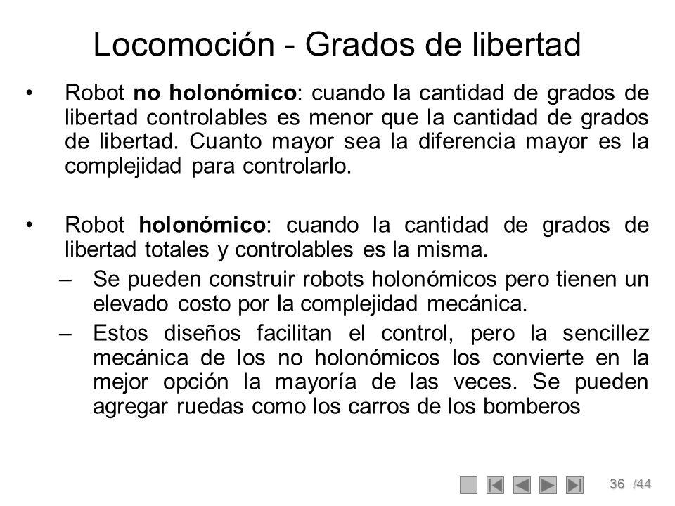 36/44 Locomoción - Grados de libertad Robot no holonómico: cuando la cantidad de grados de libertad controlables es menor que la cantidad de grados de