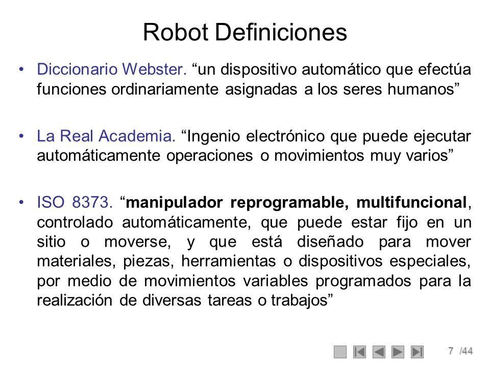 7/44 Robot Definiciones Diccionario Webster. un dispositivo automático que efectúa funciones ordinariamente asignadas a los seres humanos La Real Acad