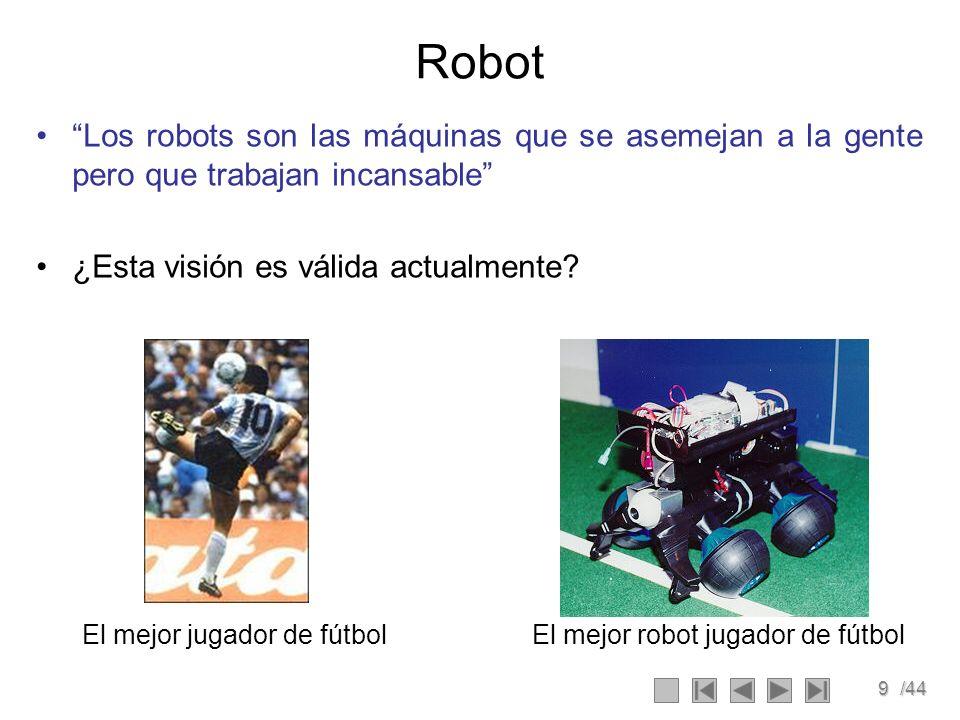 9/44 Robot Los robots son las máquinas que se asemejan a la gente pero que trabajan incansable ¿Esta visión es válida actualmente? El mejor jugador de
