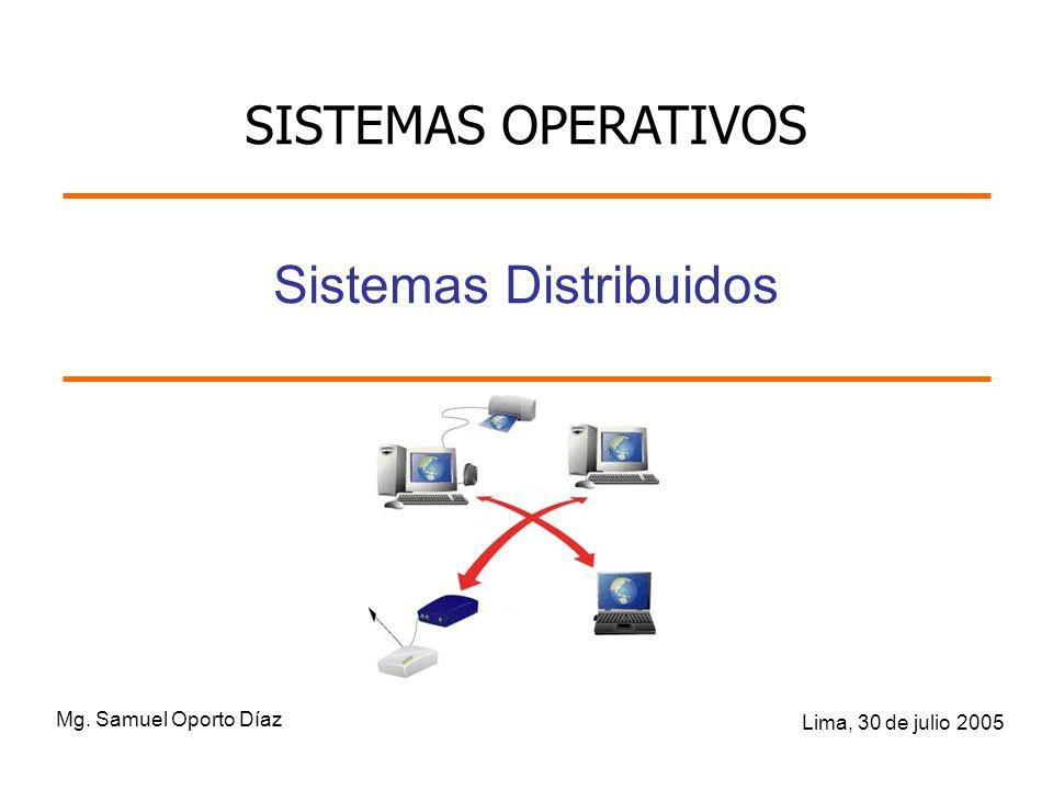 Mg. Samuel Oporto Díaz Lima, 30 de julio 2005 Sistemas Distribuidos SISTEMAS OPERATIVOS