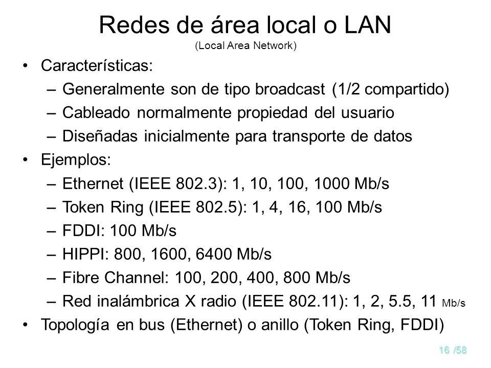 15/58 Distancia entre procesadores Procesadores ubicados en el mismo... Ejemplo 1 mSistemaMultiprocesador 10 mHabitación LAN 100 mEdificio 1 KmCampus