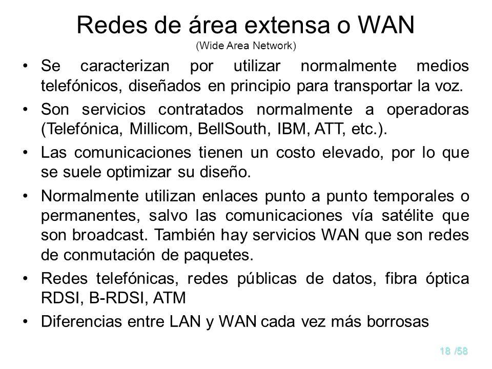 17/58 Topologías LAN típicas Bus (Ethernet) Anillo (Token Ring, FDDI) Cable Ordenador (Host) Cable