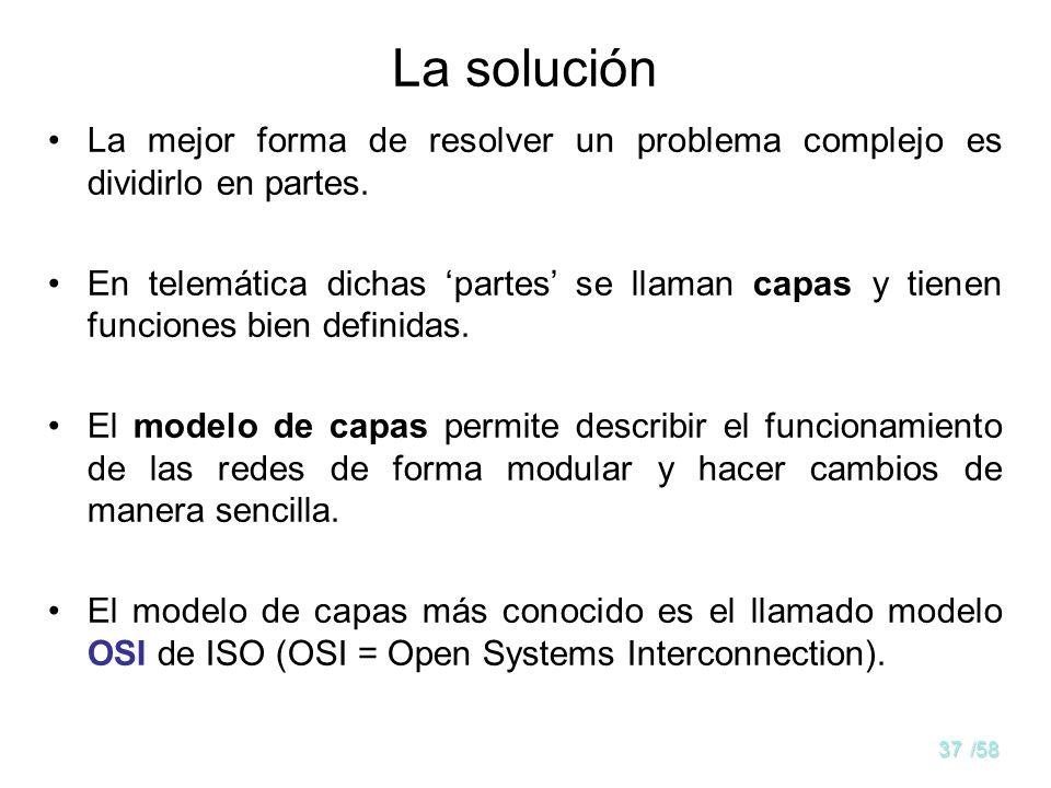 36/58 Planteamiento del problema La interconexión de ordenadores es un problema técnico de complejidad elevada. Requiere el funcionamiento correcto de