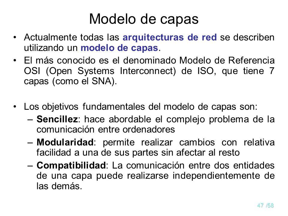46/58 Arquitectura o modelo de redes La arquitectura es un patrón común al que han de ceñirse unos productos (hard y soft) para mantener un cierto gra