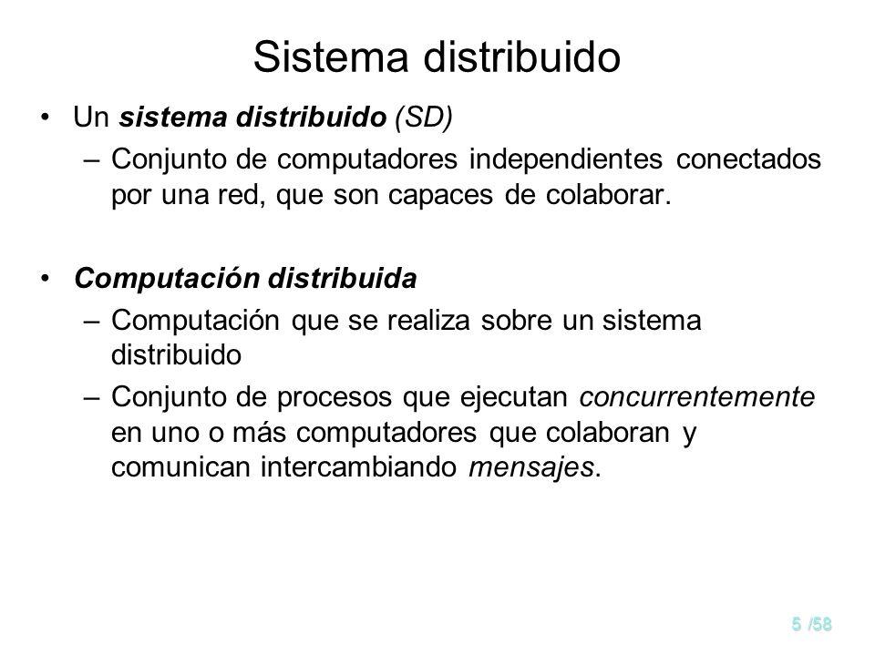 4/58 Sistemas Paralelos y Distribuidos memoria red fuertemente acoplada (bus, switch,...) UCP 1 UCP 1 UCP 2 UCP 2 UCP 3 UCP 3 UCP n UCP n red débilmen
