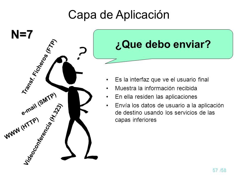 56/58 Capa de Presentación Datos de la aplicación (dependientes de la máquina) Datos de capas bajas (independientes de la máquina) Convierte los datos