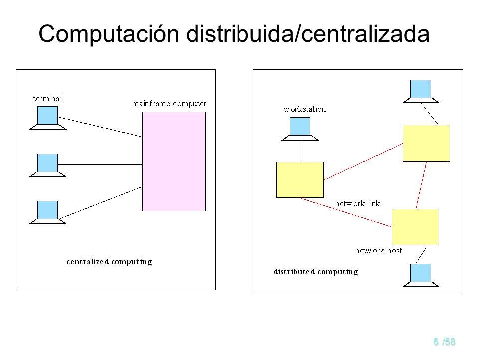 5/58 Sistema distribuido Un sistema distribuido (SD) –Conjunto de computadores independientes conectados por una red, que son capaces de colaborar. Co