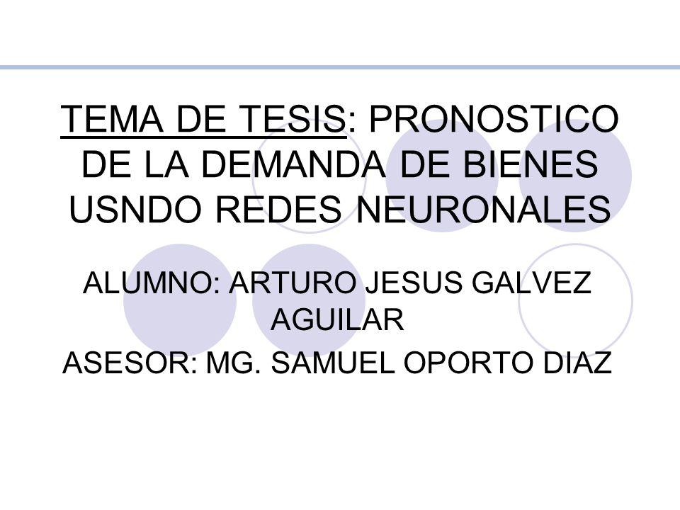 TEMA DE TESIS: PRONOSTICO DE LA DEMANDA DE BIENES USNDO REDES NEURONALES ALUMNO: ARTURO JESUS GALVEZ AGUILAR ASESOR: MG. SAMUEL OPORTO DIAZ