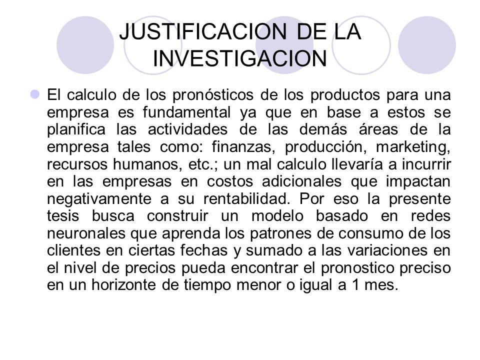 JUSTIFICACION DE LA INVESTIGACION El calculo de los pronósticos de los productos para una empresa es fundamental ya que en base a estos se planifica l