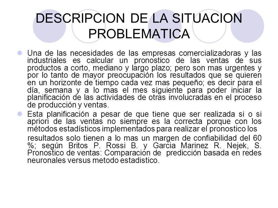 DESCRIPCION DE LA SITUACION PROBLEMATICA Una de las necesidades de las empresas comercializadoras y las industriales es calcular un pronostico de las