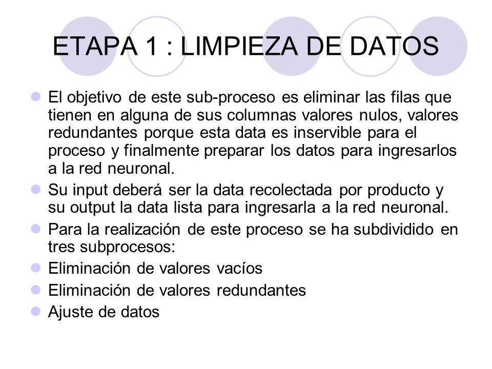 El objetivo de este sub-proceso es eliminar las filas que tienen en alguna de sus columnas valores nulos, valores redundantes porque esta data es inse