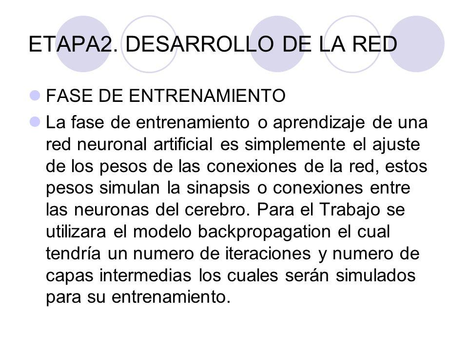 ETAPA2. DESARROLLO DE LA RED FASE DE ENTRENAMIENTO La fase de entrenamiento o aprendizaje de una red neuronal artificial es simplemente el ajuste de l