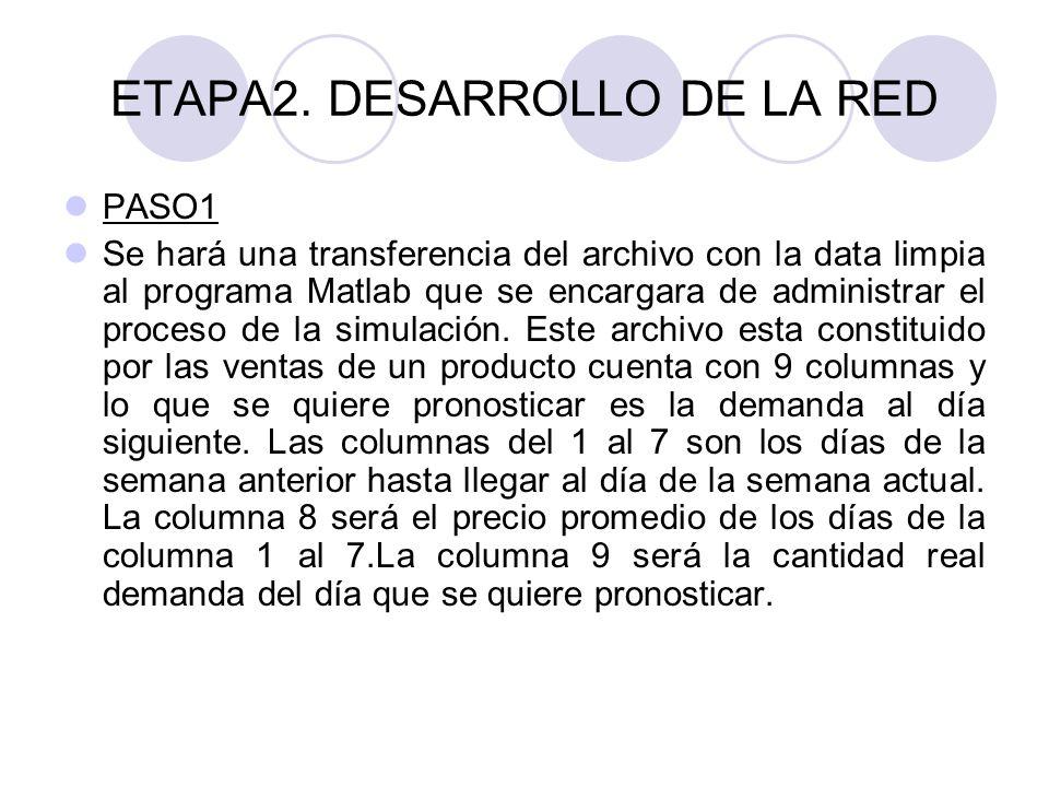 ETAPA2. DESARROLLO DE LA RED PASO1 Se hará una transferencia del archivo con la data limpia al programa Matlab que se encargara de administrar el proc