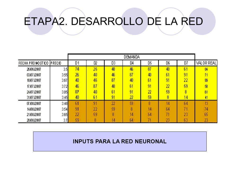 ETAPA2. DESARROLLO DE LA RED INPUTS PARA LA RED NEURONAL