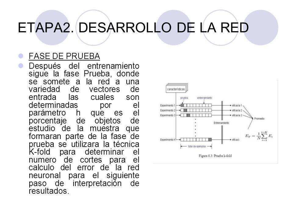 ETAPA2. DESARROLLO DE LA RED FASE DE PRUEBA Después del entrenamiento sigue la fase Prueba, donde se somete a la red a una variedad de vectores de ent