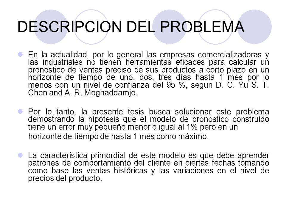 DESCRIPCION DEL PROBLEMA En la actualidad, por lo general las empresas comercializadoras y las industriales no tienen herramientas eficaces para calcu
