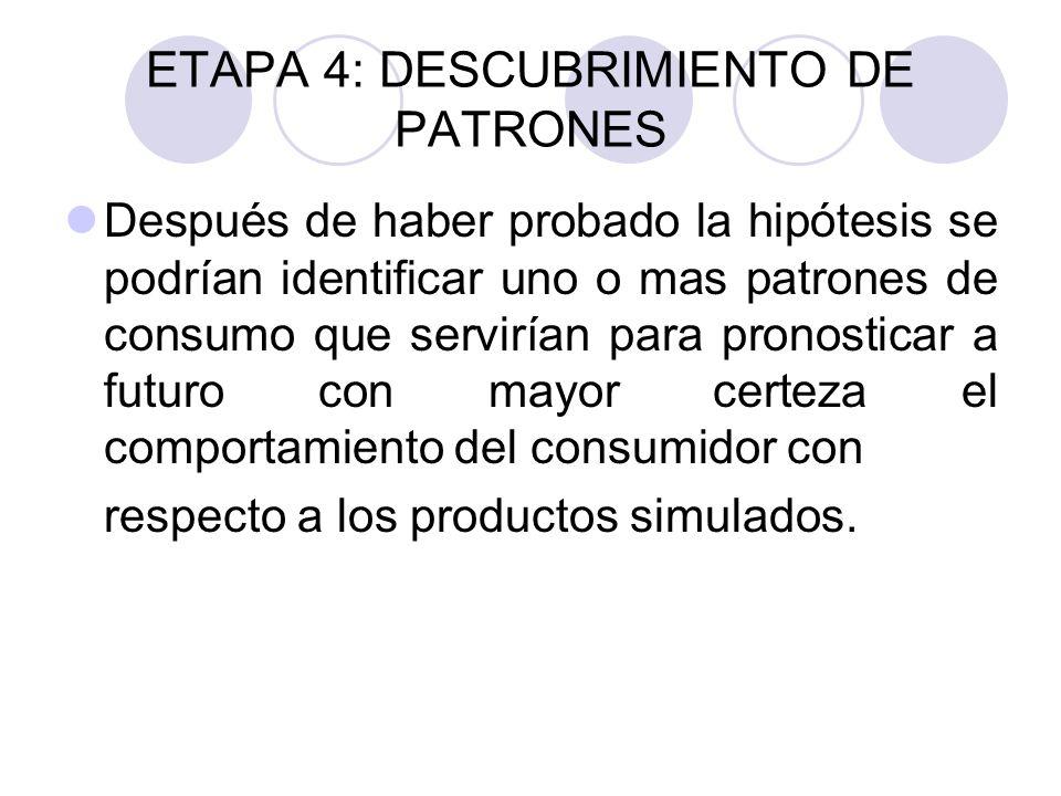 ETAPA 4: DESCUBRIMIENTO DE PATRONES Después de haber probado la hipótesis se podrían identificar uno o mas patrones de consumo que servirían para pron