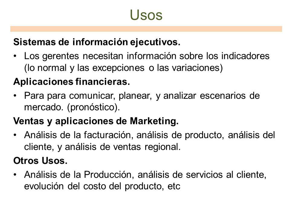Usos Sistemas de información ejecutivos. Los gerentes necesitan información sobre los indicadores (lo normal y las excepciones o las variaciones) Apli