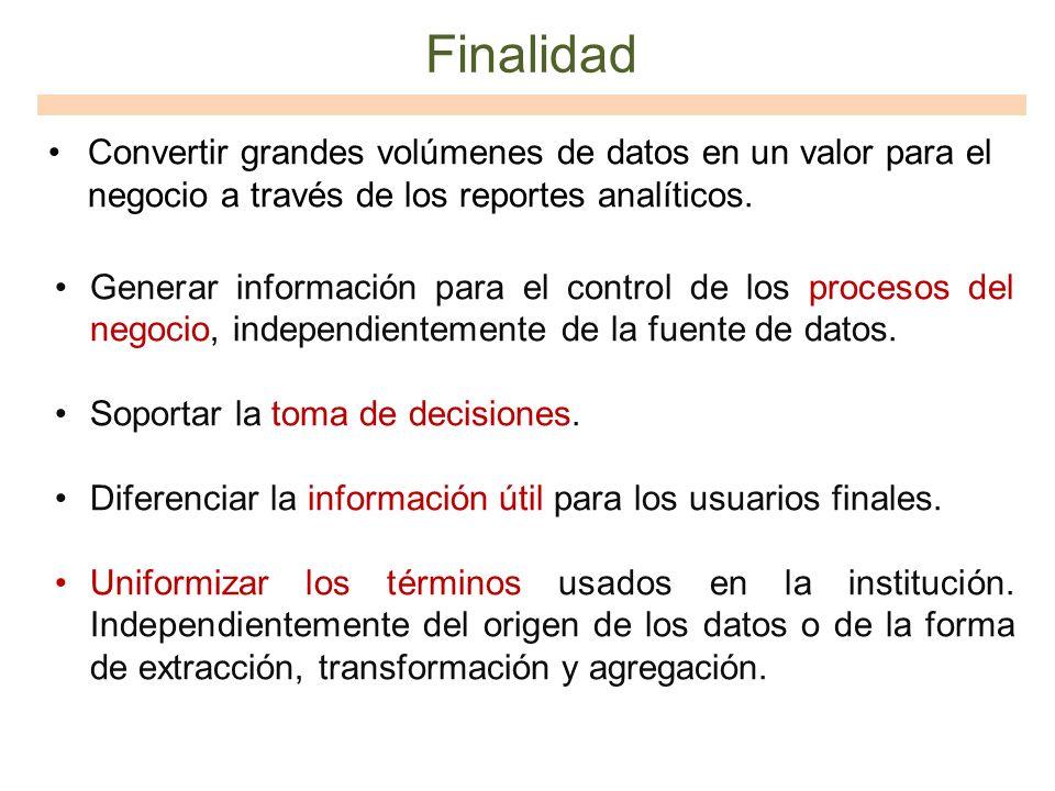 Finalidad Convertir grandes volúmenes de datos en un valor para el negocio a través de los reportes analíticos. Generar información para el control de